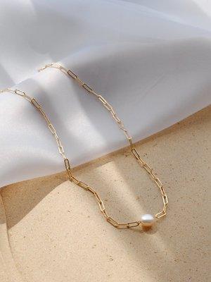 Lan韓國專櫃·法式天然巴洛克珍珠項鍊女14K包金高級感鎖骨鍊ins冷淡風簡約百搭