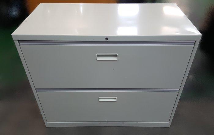台中二手家具店 宏品全新中古傢俱 CE11299灰色2抽理想櫃 資料櫃 *2手辦公設備拍賣 oa隔間屏風 會議桌