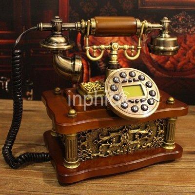 INPHIC-實木歐式電話機 可愛家用古董電話復古美式座機復古