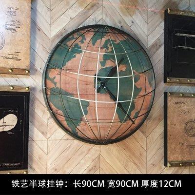 紐約公寓工業風大幅復古裝飾畫組合loft咖啡店餐廳牆面裝飾掛飾鐵藝大掛鐘