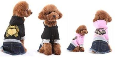 @我最便宜@翔仁寵物工坊~寵物精品百貨【假兩件式連帽牛仔裙】粉、黑2色