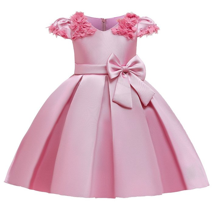 •*~ 辣媽咪衣飾小舖 ~*•❤童裝系列❤K970438韓版大童夏款甜美清新時尚蓬蓬蝴蝶結公主禮服公主洋裝