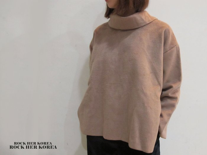 洛克高麗嚴選 正韓冬季設計款 內外刷毛 側開衩 小立領套頭長袖上衣