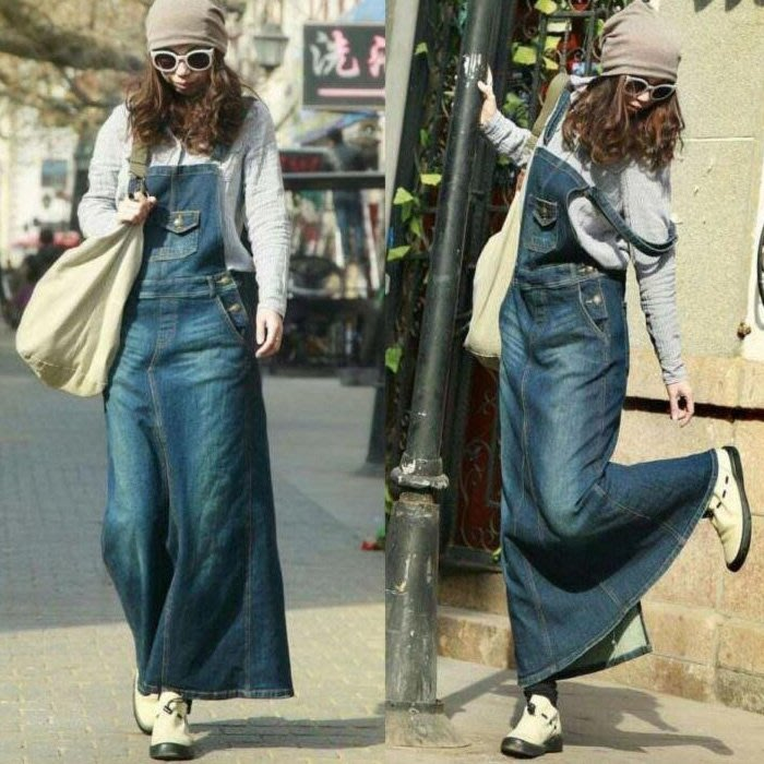 牛仔裙 個性寬鬆修身吊帶A字型牛仔連身裙 艾爾莎【TAE5154】
