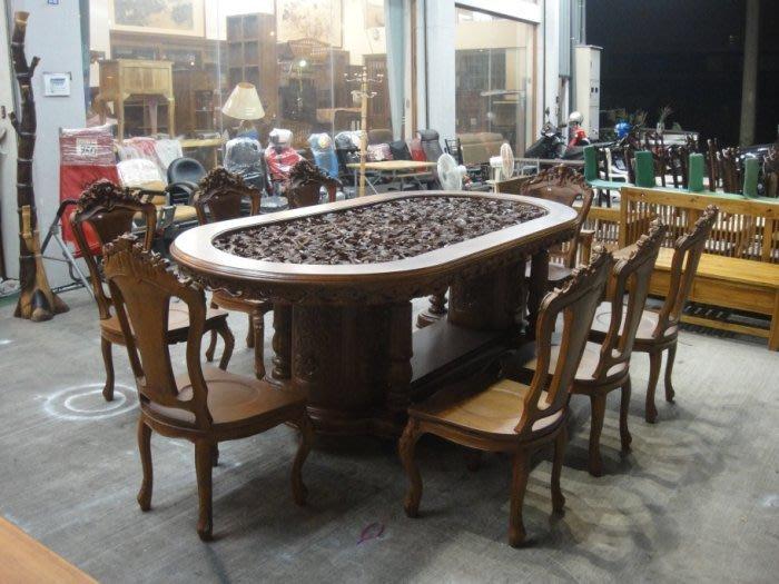 樂居二手家具 台中二手家具賣場 TK-H000H*幕 全新庫存高級浮雕柚木餐桌椅 會議桌椅 書桌椅 洽談桌椅 法式雕刻