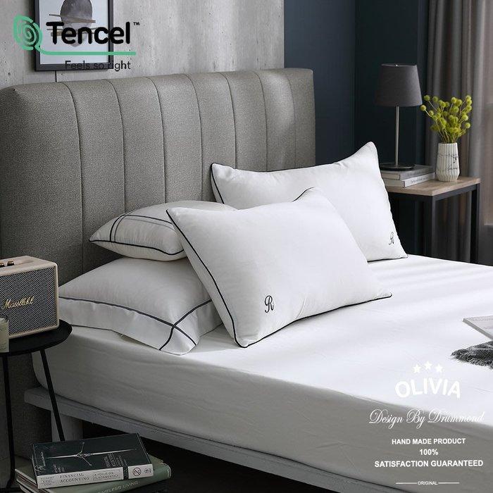 【OLIVIA 】DR8000 天使白 標準雙人床包枕套組【不含被套】 60支天絲™萊賽爾 品牌獨家原創設計款 字體刺繡