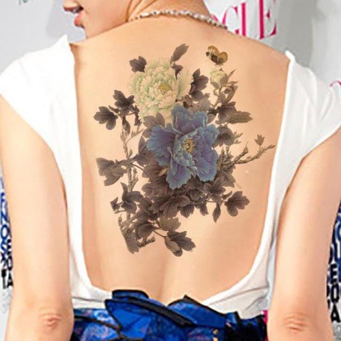 【萌古屋】藍色白色牡丹花朵大圖 - 男女防水紋身貼紙刺青貼紙K38