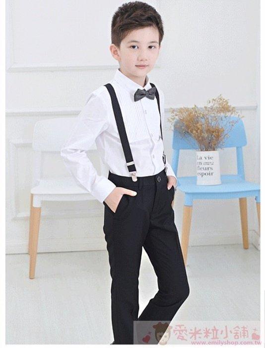 修身窄版兒童西服四件組 男童西裝 ☆愛米粒☆ K13黑色吊帶款 100-170碼 45K內適穿