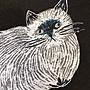 乾媽店。日本m.m繪本家-松尾美雪 手繪刺繡動物厚款棉 肩背手提包 托特 大容量  貓咪 鳥兒 兔子 立體感二面一樣圖案
