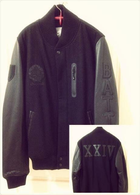 big sale d613a 3593c NSW NIKE Sportswear Kobe Destroyer Jacket 羊毛皮袖黑量極少棒球外套 ...