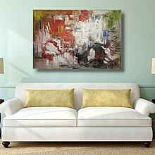 【 金王記拍寶網 】U1261 朱德群 款 抽象 手繪原作 厚麻布油畫一張 居家設計風 罕見 稀少 藝術無價~