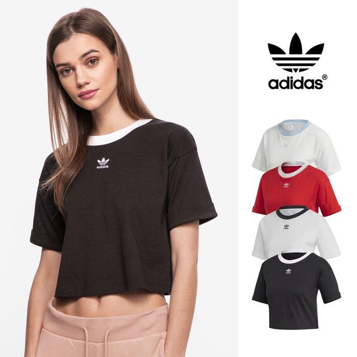 【GT】Adidas Originals 黑白粉紅 短袖T恤 女款 短版 純棉 運動 休閒 上衣 短T 愛迪達 三葉草