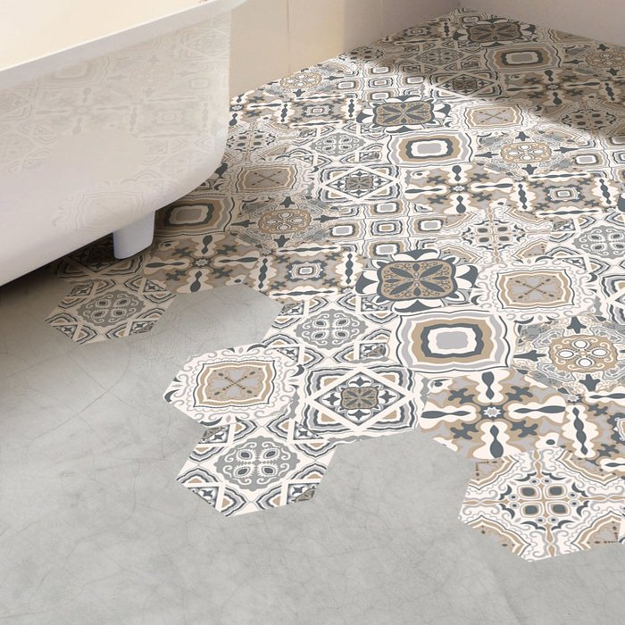 (一組10入)創意復古花紋 水泥灰白 蜂巢壁貼 地板貼紙 牆貼 浴室地板 防滑貼紙