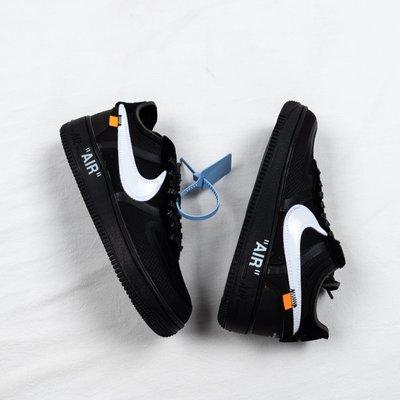 NIKE OFF-WHITE x Air Force 1 AF1 黑白 休閒運動板鞋 男女鞋AO4606-001