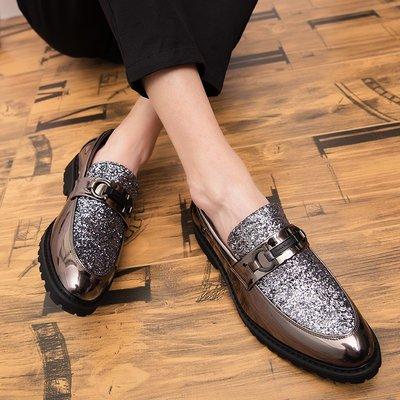 【時尚先生男裝】男士小皮鞋男2020春季英倫潮鞋發型師皮鞋韓版金色男鞋銀色鞋45碼工作鞋牛津鞋休閒皮鞋商務正裝皮鞋YL732