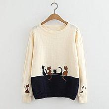 【1789】針織 日系萌系小貓刺繡針織上衣☆*藍荳荳小舖*☆(現貨)