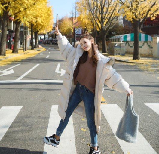 韓國 真貂毛領超保暖棉外套 兩色 棉外套 保暖外套 韓國外套 長版外套