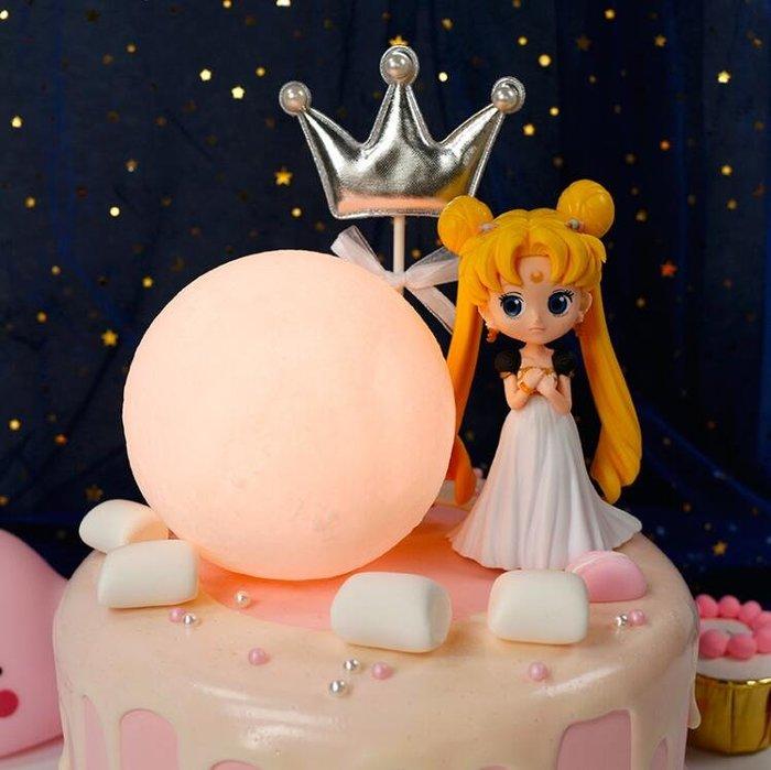 西柚姑娘雜貨鋪☛月球燈蛋糕裝飾 ins網紅星球蛋糕美少女擺件中秋創意生日蛋糕裝飾
