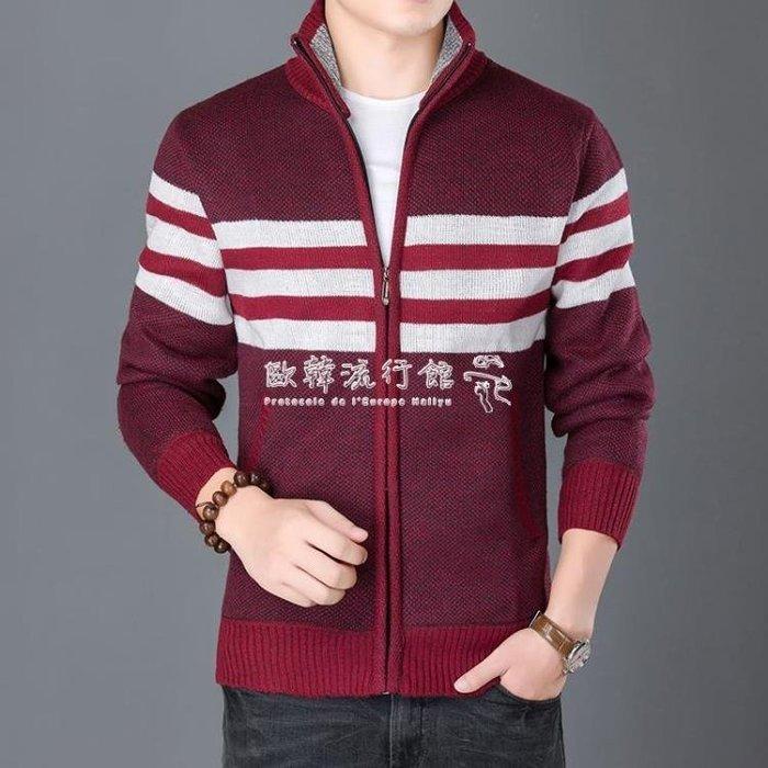 針織外套  男士毛衣開衫加絨拉鏈立領針織衫男大碼休閒加厚毛衫外套寬鬆