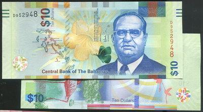 【紙幣】Bahamas (巴哈馬),P-new 10 Dollars,2016,品相全新UNC