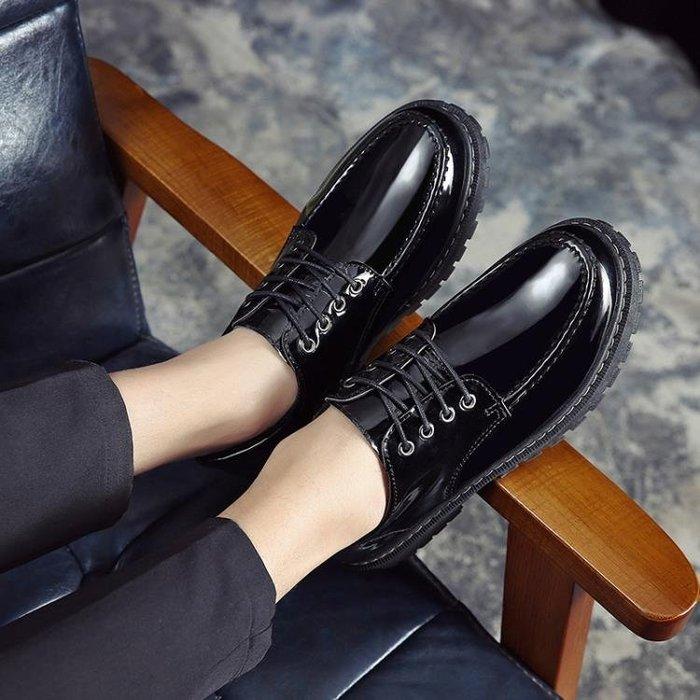 皮鞋 秋季新款男士皮鞋男韓版潮流百搭學生低幫休閒鞋英倫亮皮男鞋潮鞋