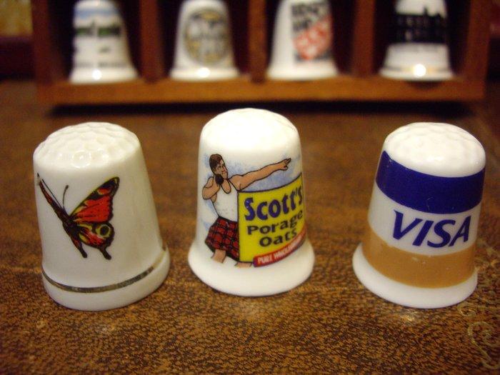 歐洲古物時尚雜貨 骨瓷頂針 造型頂針 蝴蝶 推鉛球 VISA縫紉飾品 指套 擺飾品 古董收藏 一組3件