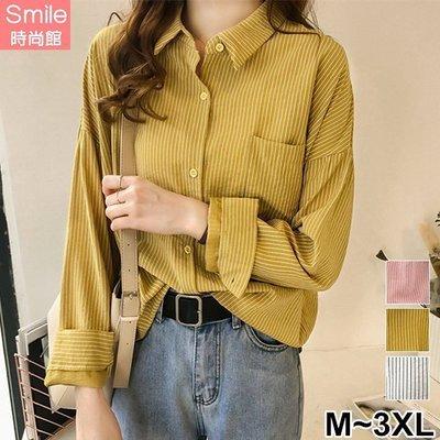 【V2970】SMILE-秋氛恬色.配色細條紋單口袋翻領長袖襯衫