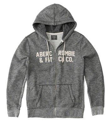 Maple麋鹿小舖 Abercrombie&Fitch * AF 麻灰色貼布字母連帽外套 * ( 現貨S號 )