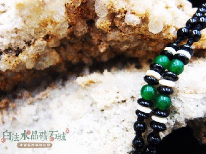 白法水晶礦石城    手工製作 黑瓷珠&木珠&金剛結& 綠瑪瑙 鍊寬5.5mm 項圈 項鍊  首飾材料