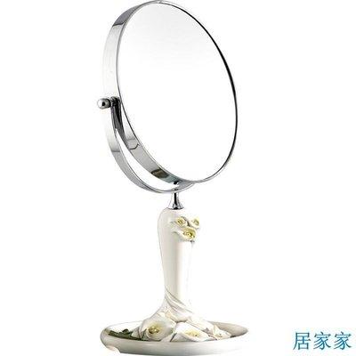 居家家 創意歐式田園可愛臺式化妝鏡子梳妝鏡馬蹄蓮臺式雙面鏡