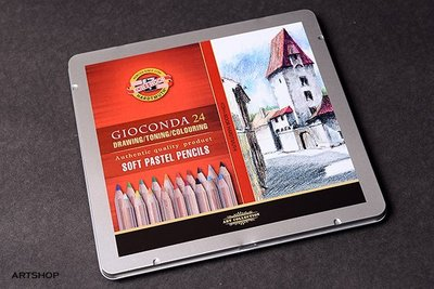 【Artshop美術用品】捷克 KOH-I-NOOR GIOCONDA 粉彩色鉛筆 (24色) 鐵盒