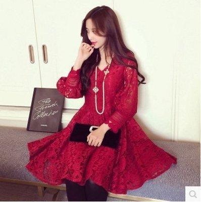 ღWild at Heartღ(現貨紅XL+預購)CZ8928#春季新款韓版鏤空蕾絲大碼連衣裙