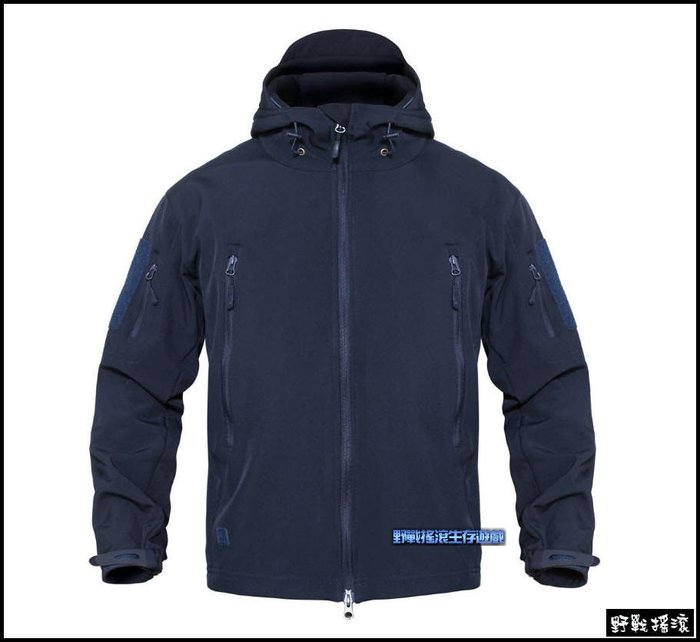 【野戰搖滾-生存遊戲】 複刻 TAD V4.0 鯊魚皮軟殼外套【海軍藍色】迷彩外套鯊魚皮外套黑色特警藍色勤務防水雨衣風衣
