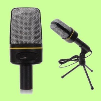5Cgo【權宇】復古造型 電容式麥克風 3.5mm K歌錄音視頻會議遊戲 可調音量 SF-920+腳架 含稅會員扣10%