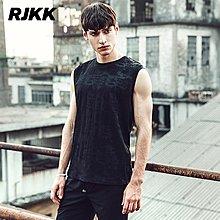 RJKK夏季潮流新款暗紋迷彩背心 男打底運動無袖汗衫 修身青年潮T