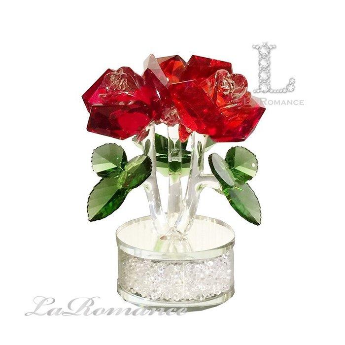 【芮洛蔓 La Romance】璀璨水晶 - 紅玫瑰碎鑽香水座 / 情人節 / 送禮 / 求婚 / 告白