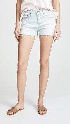 ◎美國代買◎AG The Bryn shorts剪破式褲口刷破褲管超淺水藍色高腰牛仔短褲