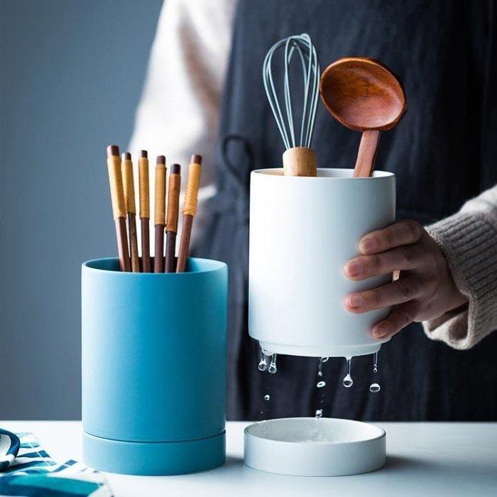 北歐陶瓷筷子筒單個收納罐筷子勺收納筒創意筷子籠餐具廚房收納盒BLBH