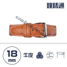 【鐘錶通】C1.05KW《繽紛系列》鱷魚壓紋-18mm 橙橘┝手錶錶帶/高質感/牛皮錶帶┥