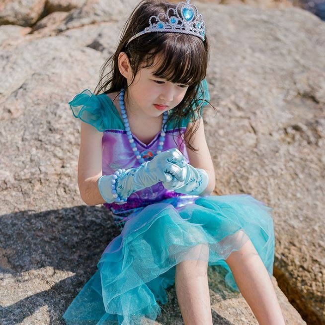 ❤現貨N073❤萬聖節歐美童裝童裝美人魚公主裙萬聖節演出服女童連衣裙party禮服 聖誕節