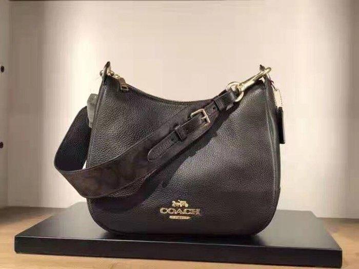 【紐約精品舖】COACH 77980 黑色 新款女士全皮半月包 單肩包 寬肩帶手提包 休閒時尚 超低直購 美國正品代購