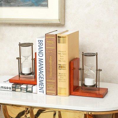 〖洋碼頭〗美式書擋書房辦公室書靠書立裝飾品創意實木沙漏計時器擺件 sme299