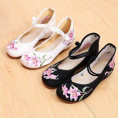 柒柒KR 正韓新款百合花布鞋低跟內增高單鞋時尚青年女鞋民族舞蹈鞋