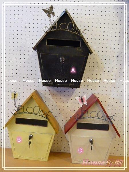 *︵House傢飾︵*鄉村風格~鐵皮彩繪蝴蝶welcome屋型信箱~3款【☆限量款/新發售☆】