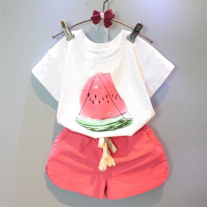 童裝  韓版  童裝  女童 夏季新款休閑西瓜短袖t恤+短褲套裝