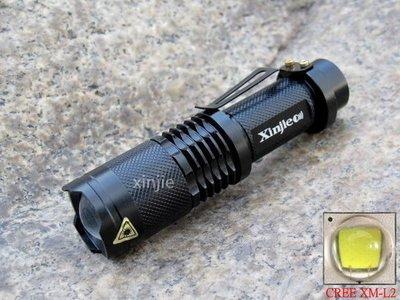 信捷【A72】三段式 CREE XM - L2 強光手電筒 伸縮變焦調光 T6 Q5 U2 手電筒批發