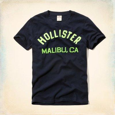 Maple麋鹿小舖 Hollister Co * HCO 深藍色貼布電繡字母短T *( 現貨S號 )