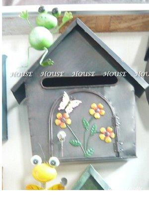 *台南佳里*︵House傢飾館︵*鄉村風格~復古鐵皮彩繪青蛙蜜蜂POST屋型信箱 (附鎖)~2款【☆限量款/新