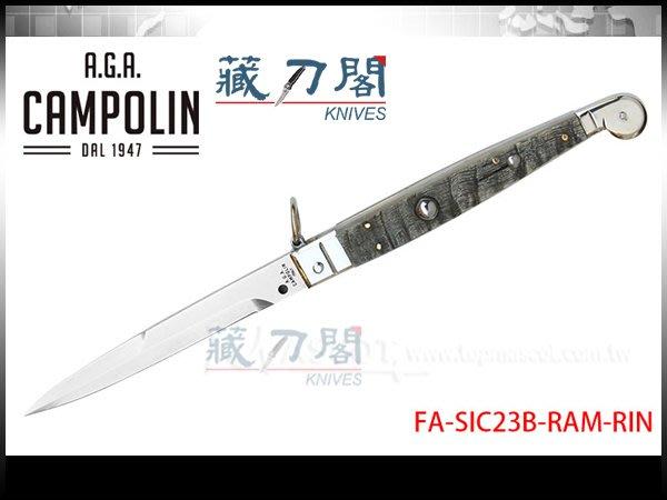 《藏刀閣》A.G.A.Campolin-(Sicilian)西西里23公分公羊角柄彈簧刀