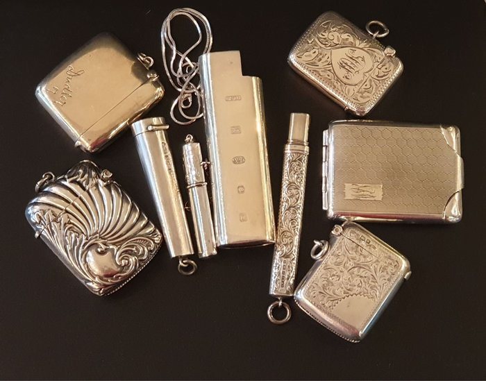ONE*$1~英國*維多利亞『純銀9件組 』純銀火柴盒5*鉛筆套1*煙嘴套1*打火機套1*針套1